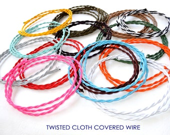 Cloth Covered Wire - 20 Ft. Twisted Lamp Cord, Vintage Style Fabric Wire