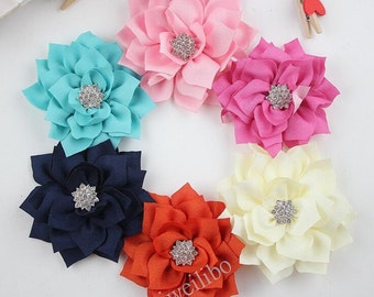 10 pcs 3.1''  Fabric Flower With Rhinestone Button Center For Hair Accessories