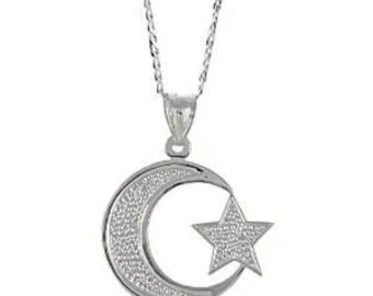 Moon star pendant etsy sterling silver 925 muslim islam crescent moon star pendant w cuban chain mozeypictures Gallery