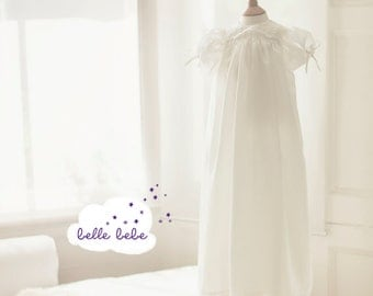 Christening Gown ,Heirloom Silk Lace Baptism Gown+ Bonnet