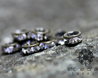 4 mm Antique Bronze Vintage Style, Brass Czech Crystal Rhinestone Rondelle Spacers GRADE AAA - Straight Edge - 142061