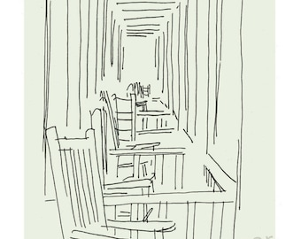 Front Porch Chairs fine art print in 2 sizes