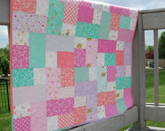 SALE**Baby girl quilt or crib quilt
