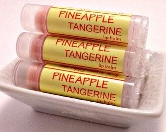 Pineapple Tangerine Lip Balm, Handmade Chapstick, Shea & Cocoa Butter, Moisturizing Balm, Citrus Chapstick, Stocking Stuffer, Gift Under 5