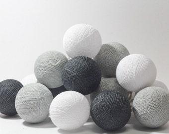20  mix  tones cotton ball Bali string light wedding party display light decor room indoor outdoor
