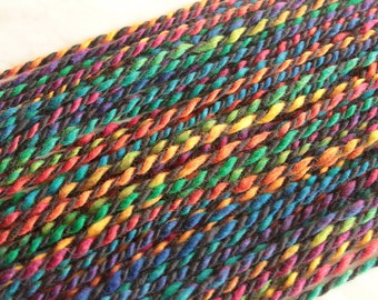 Handspun  bulky / chunky merino wool yarn RAINBOW and DARK 15 1/2oz 350 yards 21mc
