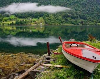 Nature Norway Photo red boat with cloud above mirroring in fjord
