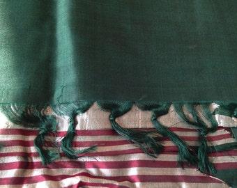 Vintage Pure Silk Sari, Temple Border Woven Sari, Grey and Maroon stripes on dark Green base, 5 yards Indian Sari
