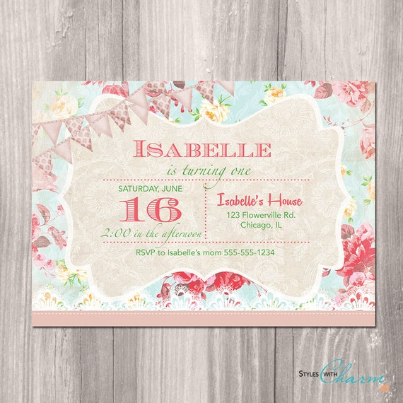 Shabby Chic Birthday Invitation Princess Garden Tea Party