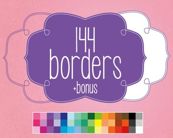 144 digital bracket frame borders (+48 bonus images) with twist detail. Instant download. Pack 2
