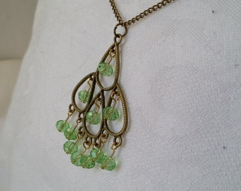 Green Beaded Bronze Chandelier Necklace, Teardrop Chandelier Pendant Necklace, Green Chandelier Necklace, Free Shipping in US