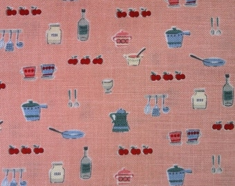 Half Yard-D's Selection Le Cief DN12454S Produced by Fumika Oishi- Pantry or Kitchen utensils prints on Coral pink background