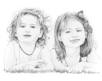 Children's portrait. Custom pencil drawing from photograph. Baby, families and pets aswell