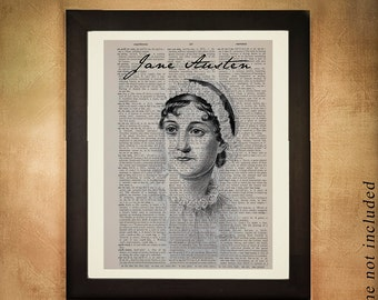 Jane Austen Portrait Dictionary Art Print, British Literature Woman Writer Upcycled Feminine Home Decor da328