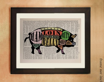 Pig Dictionary Art Print, Meat Diagram Meat Cuts Chart Pork Hog Bacon Ham Food Kitchen Art Foodies Gift Ideas da344