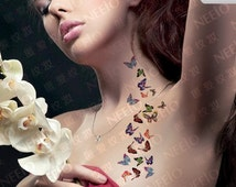 colorful butterfly temporary tattoos finger wrist arm neck Waterproof tatoo women