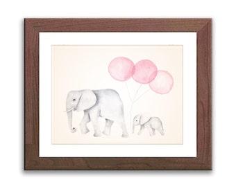 Elephant Nursery Painting Print - Nursery Art - Baby Elephant Nursery Decor - Watercolor Elephant - Pink Elephant Art Print - E1602