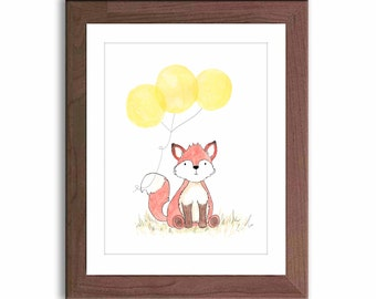 Woodland Nursery Art - Fox Watercolor Print - Nursery Decor - Nursery Art - Baby Wall Art - Kids Wall Decor - Woodland Theme - F202