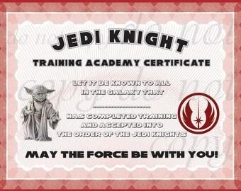 Jedi certificate etsy for Jedi knight certificate