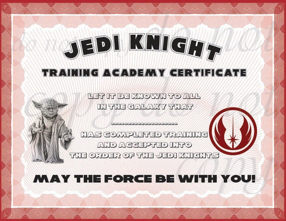 Instant dl jedi knight certificate star wars birthday party for Jedi certificate template free