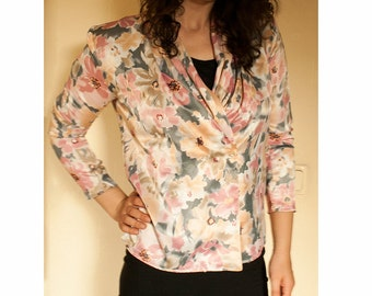 Vintage White and Pink Jacket with Flower Ornaments / Size 10 Blouse