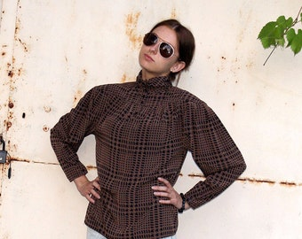 Vintage Women's Cream Beige Checkered Blouse / Brown and Black Plaid Blouse