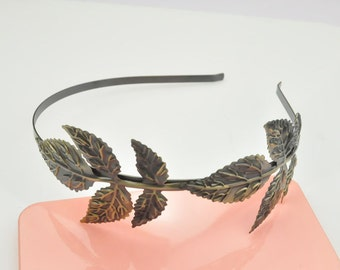 Headband--Metal Headband Blank Supply with Leaf Motif, Antique Bronze Tone,2PC