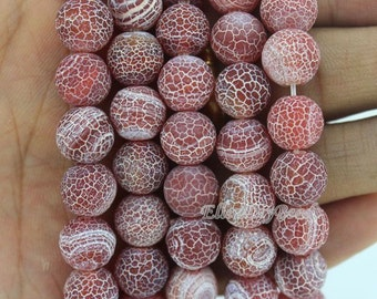 10mm Frosted Agate Beads,Light Red Agate Beads,Full Strand,Agate Beads,Round Agate Beads,Gemstone Beads---about 38 Pieces--15inches--BA021