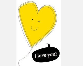 "Poster download ""I love you"" yellow illustration love heart decoration home decor nursery cute in love heart"