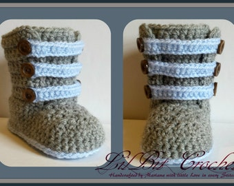 Hand Knitted / Crochet Baby Strappy Boots / Pram Shoes / Booties