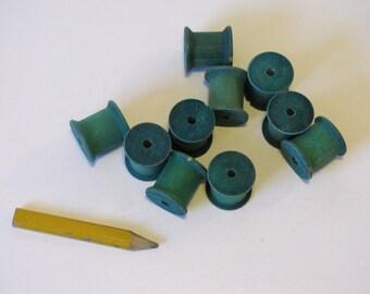 Vintage Wooden Spools - 10 - Green