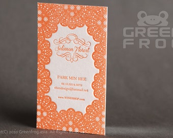 FREE Shipping : 100 Custom Letterpress Business Cards, Flower Printing Name Cards