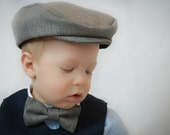 Hat, Bow Tie, and Suspender Combination : Classic Gray ; Boy Wedding Hat Bow Tie and Suspender ; Ring Bearer ; Newsboy Hat