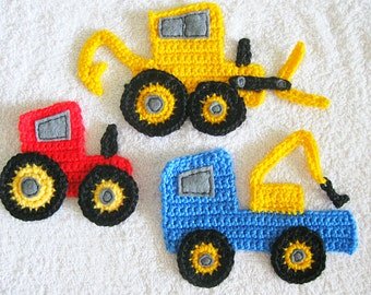 Crochet appliques - Digger, Tractor and Tow Truck - set of 3