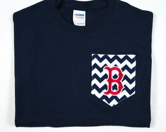 Chevron pocket t-shirt with Boston Red Sox Embroidery