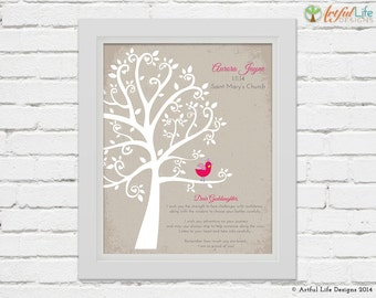 GODDAUGHTER BAPTISM ART Print, Personalized Baptism Gift Print for Goddaughter, Baby Girl Christening, Baby Girl Baptism, Baptism Tree Art