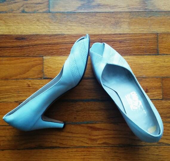 vintage 1980s white ferragamo shoes size 8 by