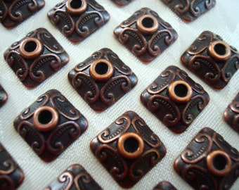 24 Superb Square Copper Beadcaps Old Penny2Tone Dark and Shiny Red 10x4mm Medium Size
