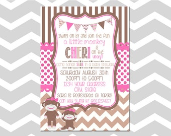 Sock Monkey Baby Shower Girl Invitation/Card