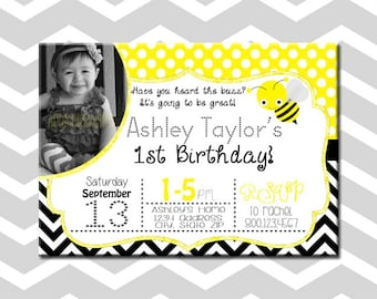 First Birthday Bee Baby Girl Party Invitation/Card With Picture