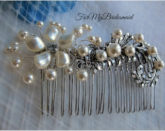 Bridal Hair Comb, Victorian style bridal comb, Vintage Wedding Hairpiece, Bridal Hair Accessories, Wedding Hair Comb, Pearl Rhinestone comb