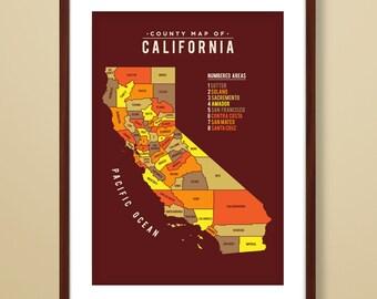Map of California, California map, California art print, map inspired print, California map print, modern map art, California State