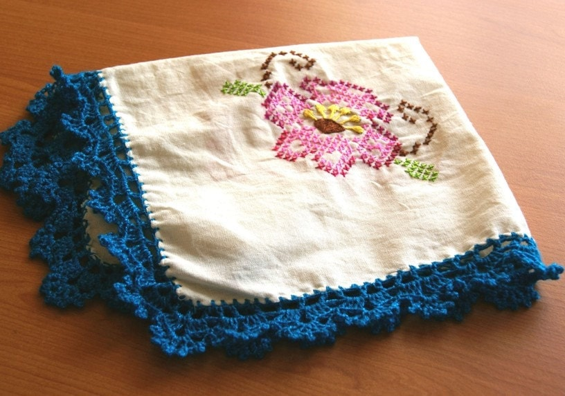 Tortilla warmer handmade cross stitch embroidered mexican