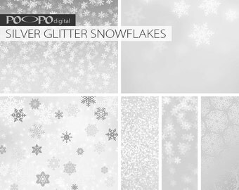 Silver snowflake digital paper snowflakes gray grey papers winter wedding snow gift bag invitation Christmas glitter card foil pattern white
