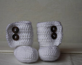 White baby booties 0 - 3 mos