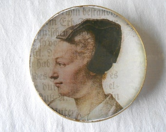 Decorative Plate. Decoupage glass dish. Portraits Collection