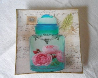 Decorative plate. Perfume II Decoupage glass dish.