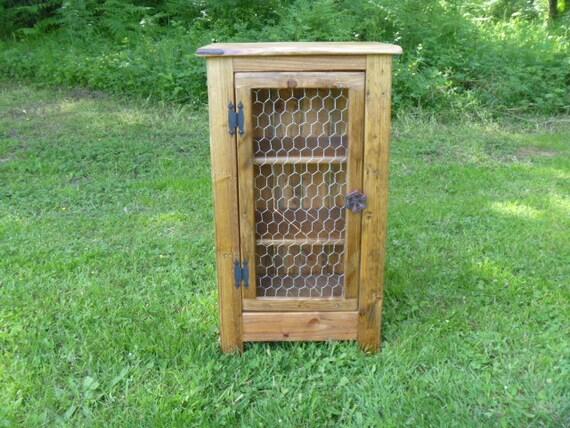 Rustic Pallet cabinet with chicken wire door / rustic