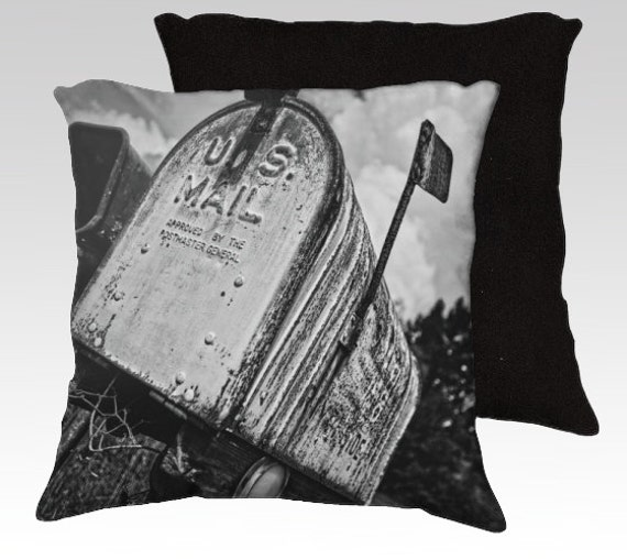 Photo Pillow Cover Rural Mailbox Black And By