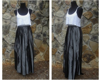 80s Formal Maxi Skirt Tall Size Silver Tungsten Metallic Liquid Metal Pleated Skirt Versaille New York Sz M